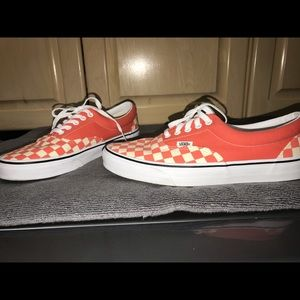 NWOT Unisex Orange Checkered Vans